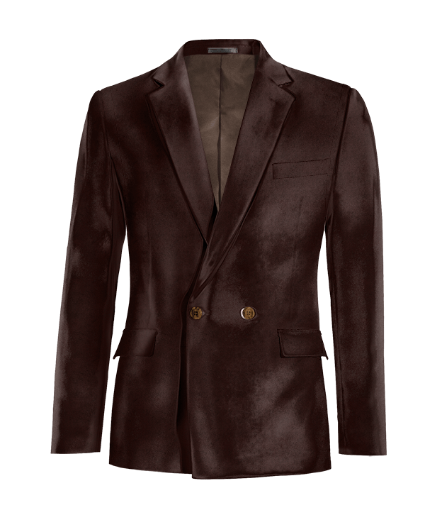 Brown double breasted velvet Blazer