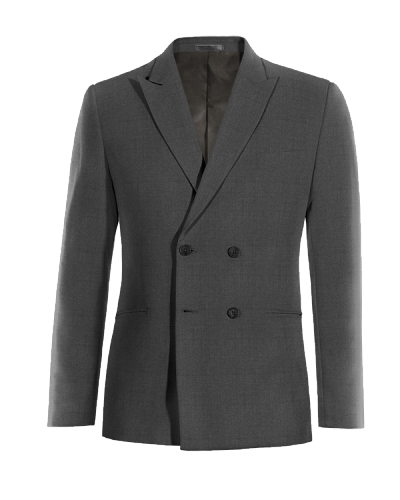 Grey double breasted Merino wool Blazer