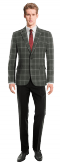 Grey checked wool Blazer-View Front
