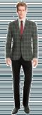 Americana gris a cuadros de lana-Vista Frontal