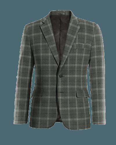 Americana gris a cuadros de lana