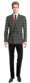 Grey double breasted checked wool Blazer-View Front