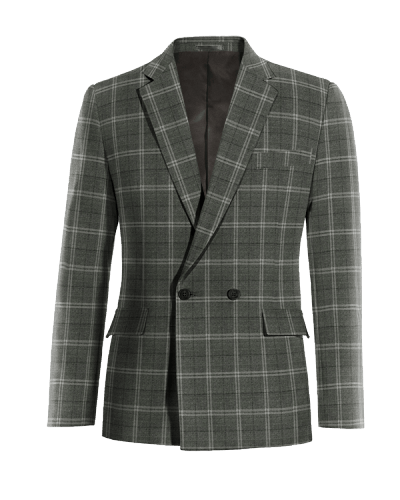 Grey double breasted checked wool Blazer