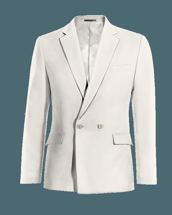 Weißes zweireihiges Sakko aus Wolle