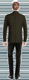 Grünes kariertes zweireihiges Sakko aus tweed-Ansicht Rückseite