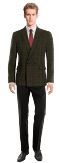 Grünes kariertes zweireihiges Sakko aus tweed-Ansicht Vorderseite
