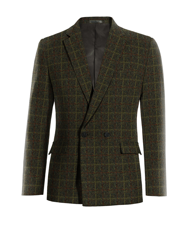 Veste verte croisée à carreaux en tweed