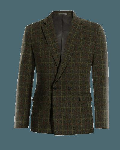 Grünes kariertes zweireihiges Sakko aus tweed