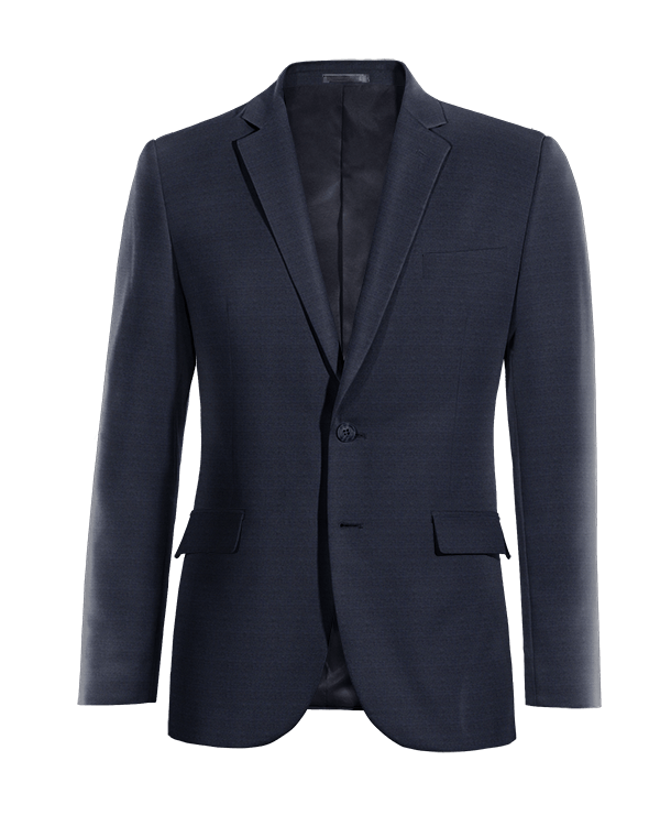 Blue Merino wool Blazer with brown elbow patches