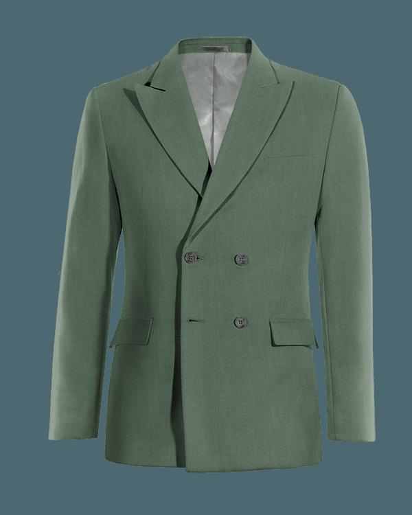 Veste verte croisée en Laine