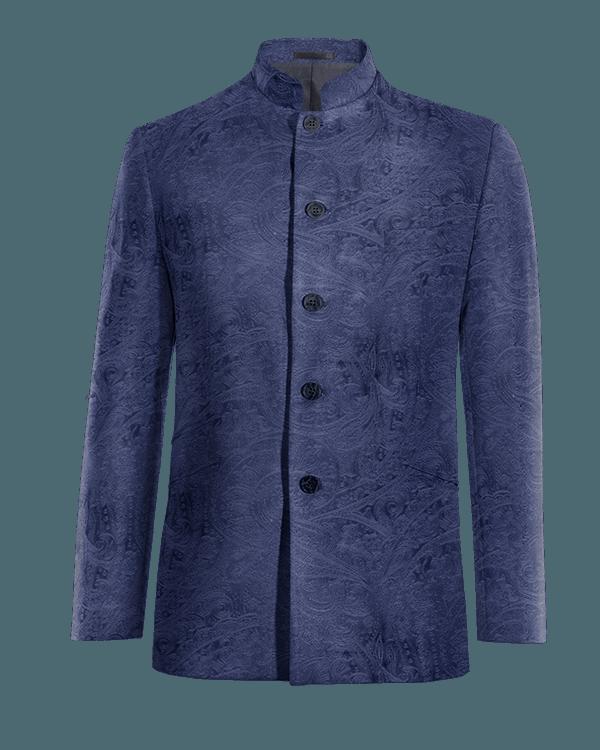 Blue Nehru paisley velvet Blazer