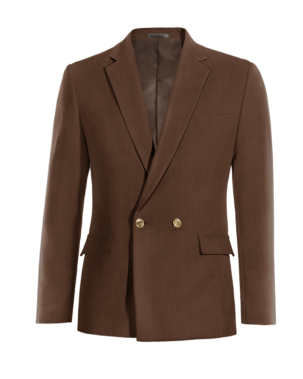 Brown double breasted linen Blazer