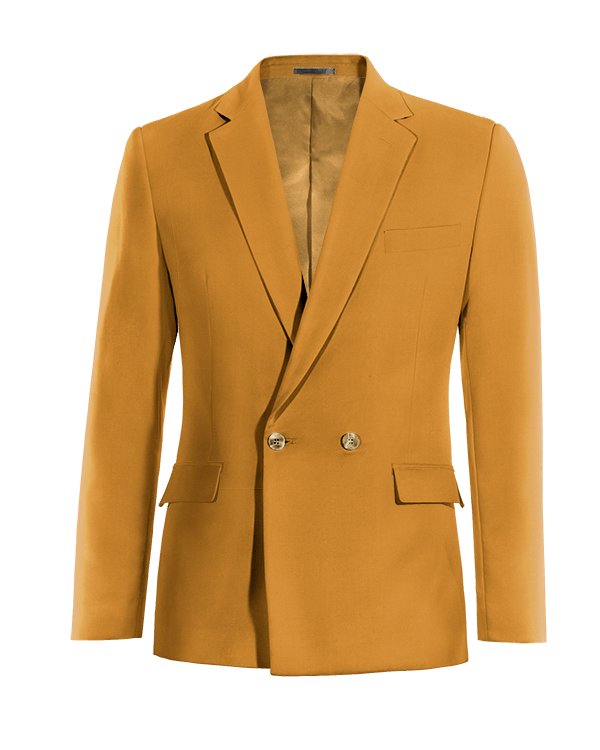 Yellow double breasted cotton Blazer