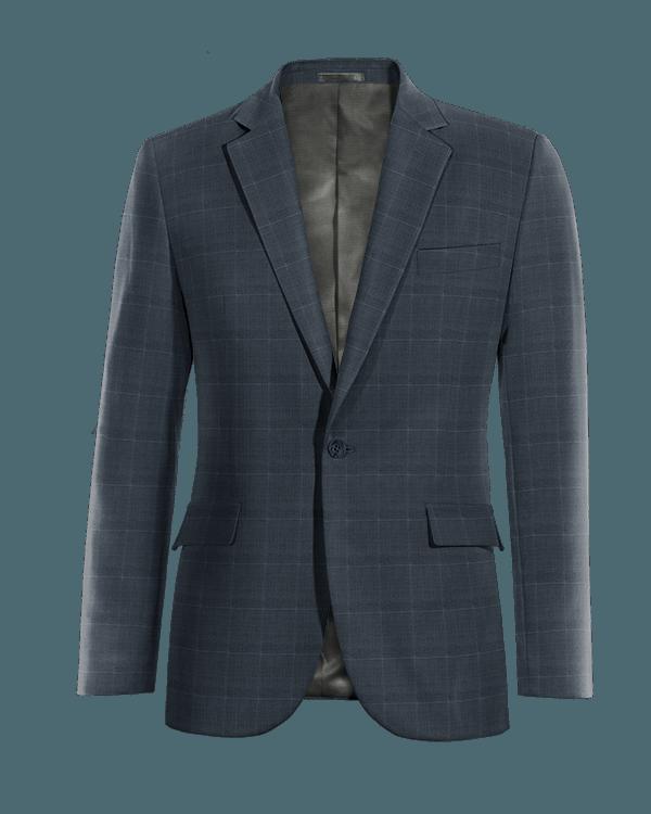 Veste bleue à carreaux en Laine Mérinos