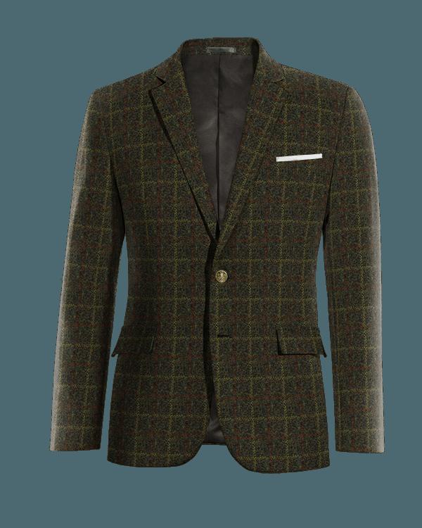 Veste verte à carreaux en tweed