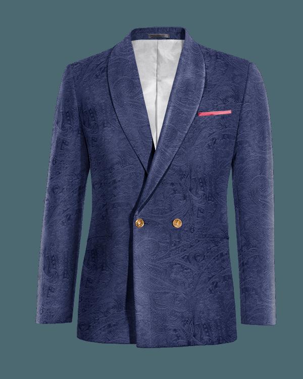 Blaues paisleymuster zweireihiges Sakko aus Samt