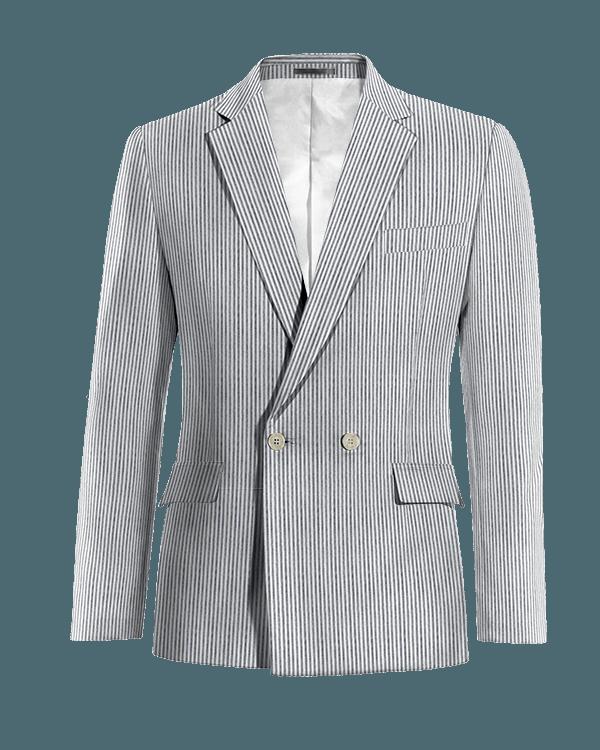 Blue double breasted striped seersucker Blazer