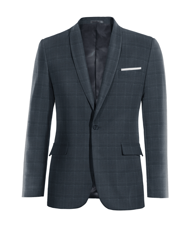 Blue checked Merino wool Blazer