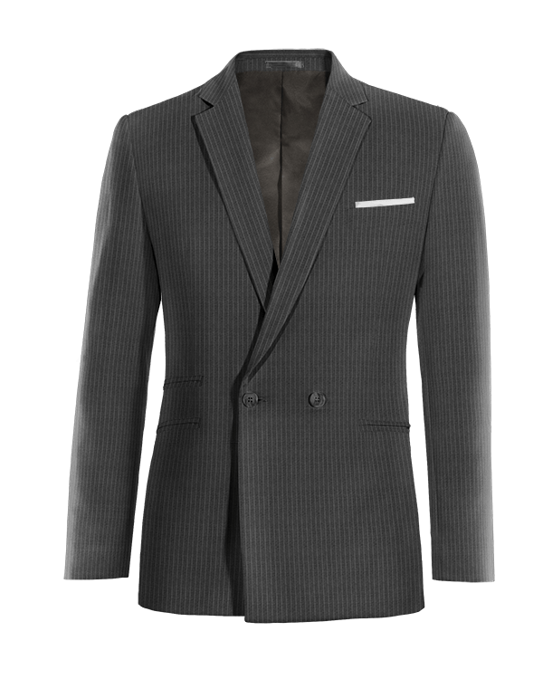 Grey double breasted striped wool Blazer