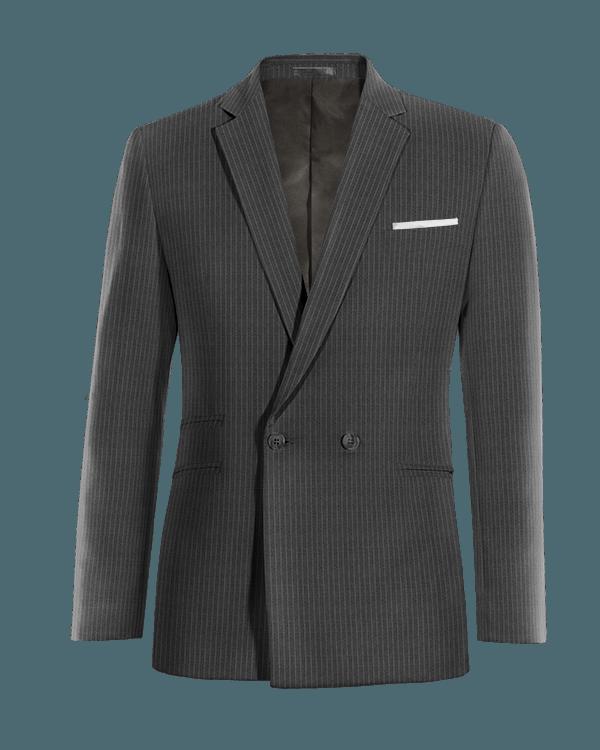 Graues gestreiftes zweireihiges Sakko aus Wolle