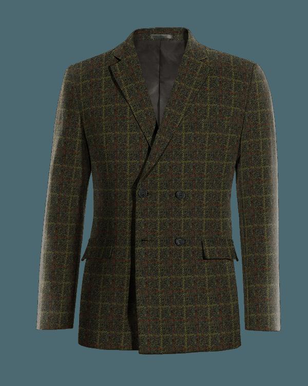 Veste verte croisée à carreaux en tweed