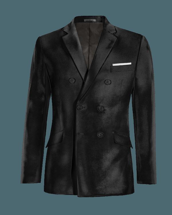 Black double breasted velvet Blazer