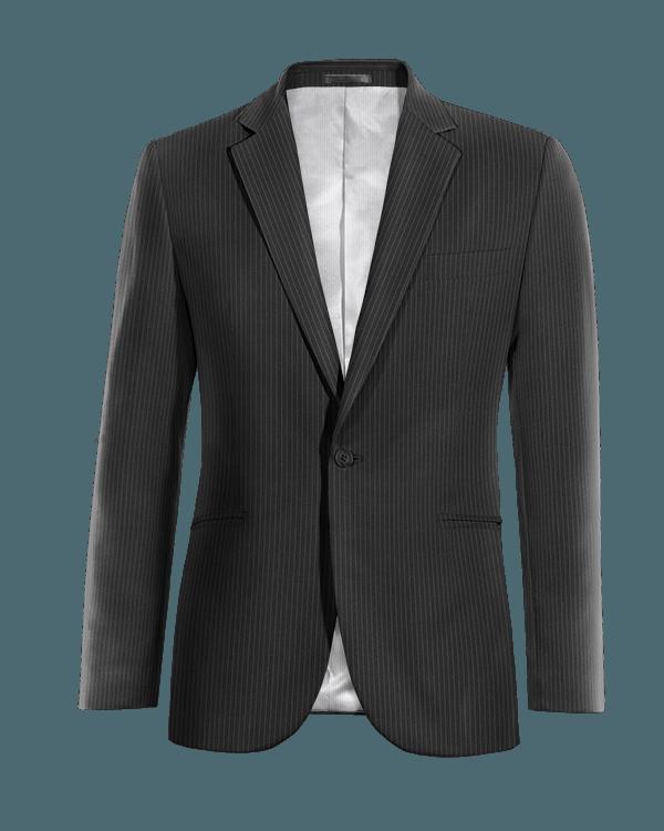 Giacca nera gessata 100% lana