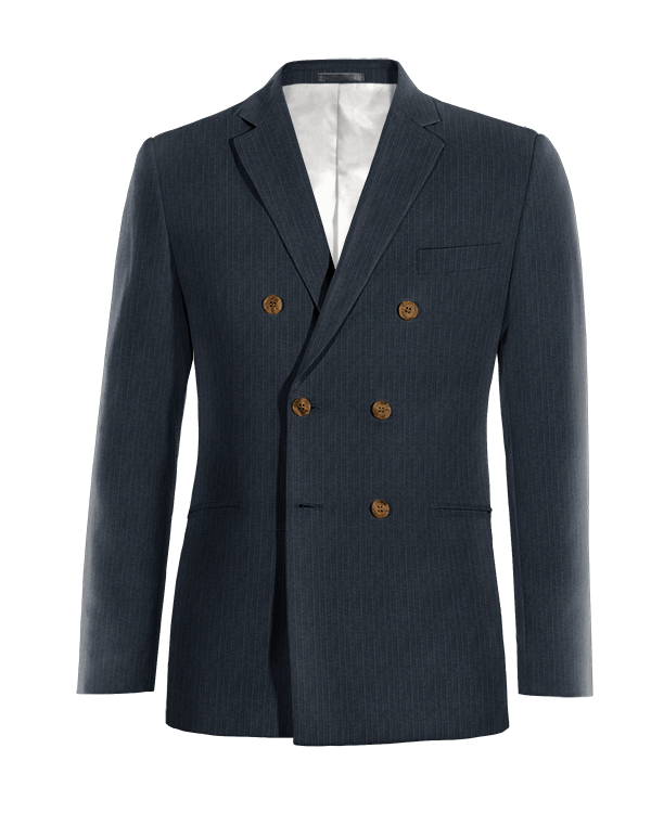 Blue double breasted striped Merino wool Blazer