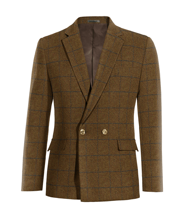 Blazer doppiopetto marrone a quadri di tweed