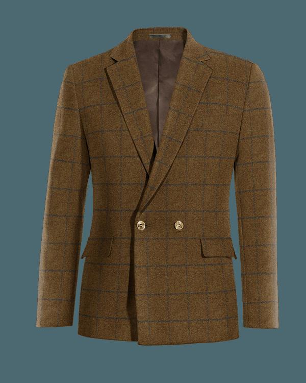 Braunes kariertes zweireihiges Sakko aus tweed