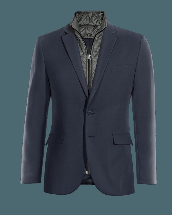 Blue wool removable gilet Blazer