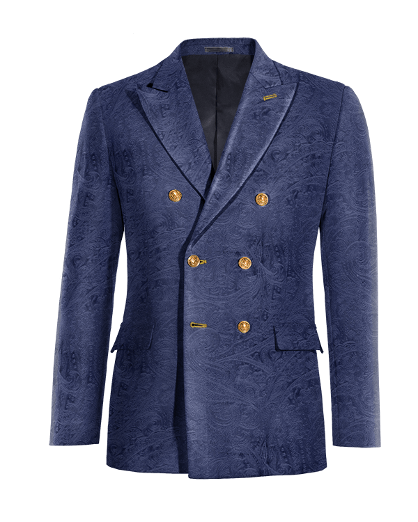 Blue double breasted paisley velvet Blazer
