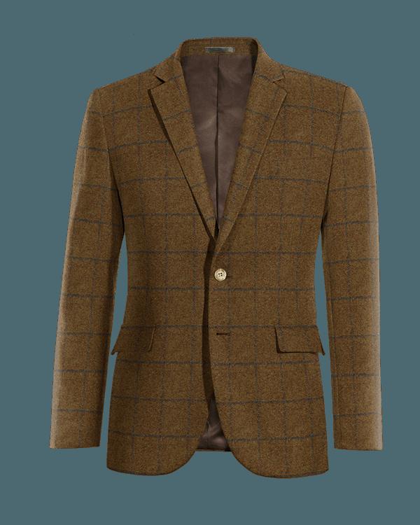Veste marron à carreaux en tweed