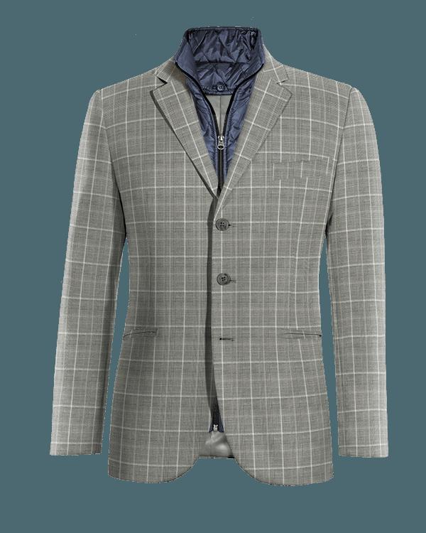 Graues kariertes Sakko aus Wolle mit herausnehmbarem Brusteinsatz
