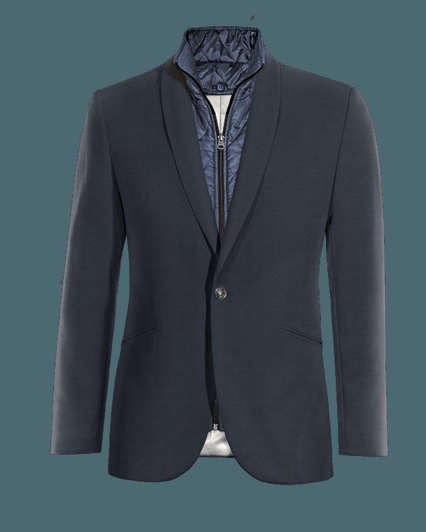 Giacca blu di Lana con Gillet Removibile