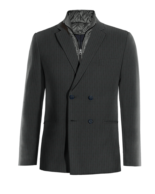 Blue double breasted striped wool removable gilet Blazer
