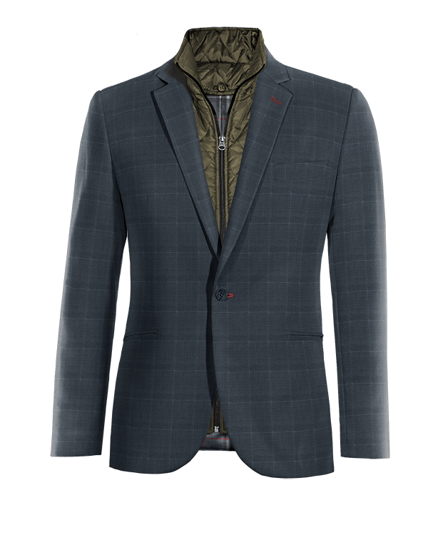 Blue checked Merino wool removable gilet Blazer