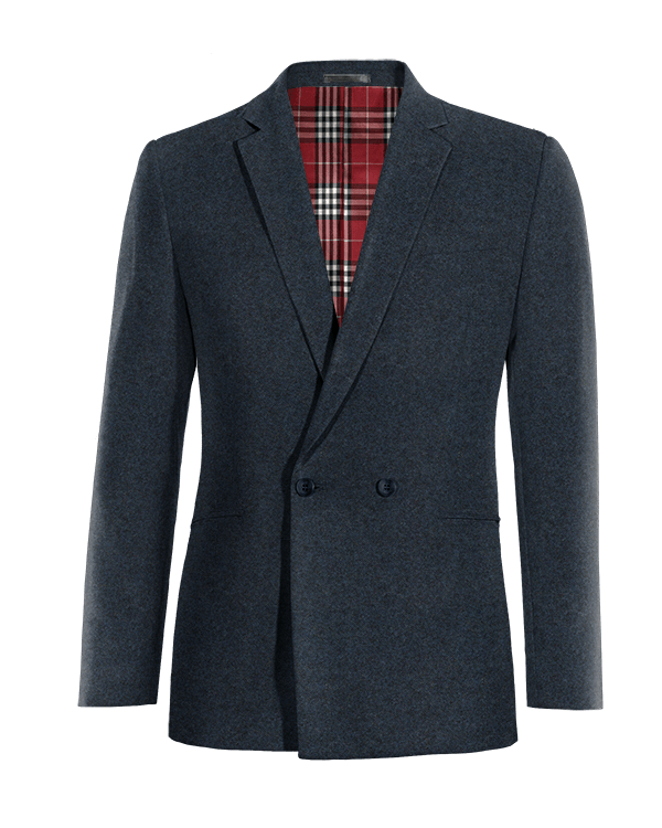 Blaues zweireihiges Sakko aus tweed