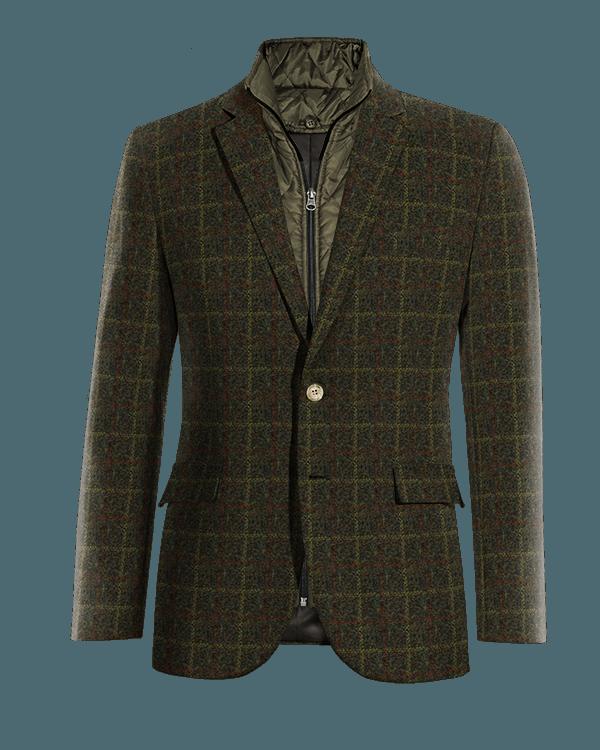 Veste verte à carreaux en tweed avec gilet amoviblet