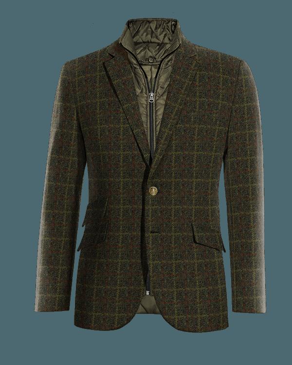 Grünes kariertes Sakko aus tweed mit herausnehmbarem Brusteinsatz