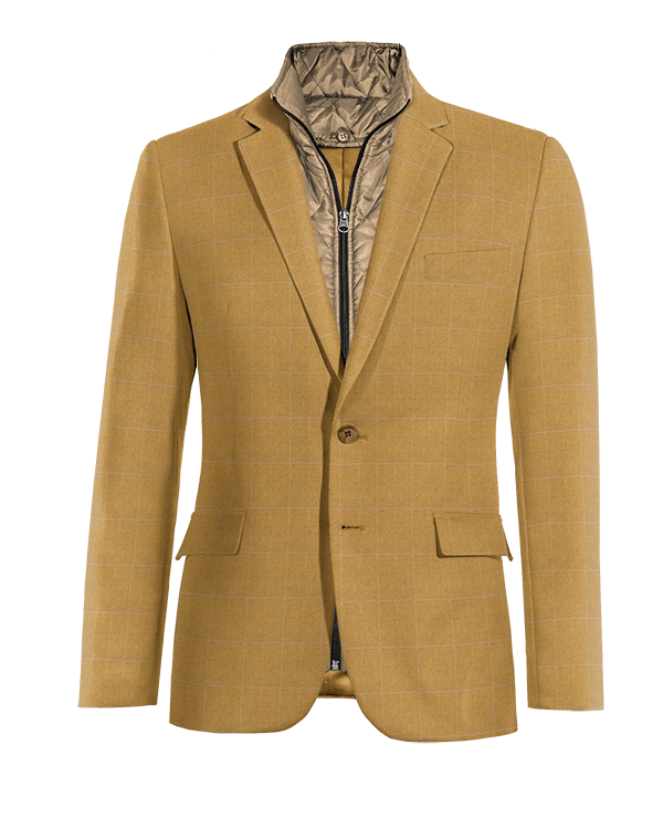 Brown checked wool removable gilet Blazer