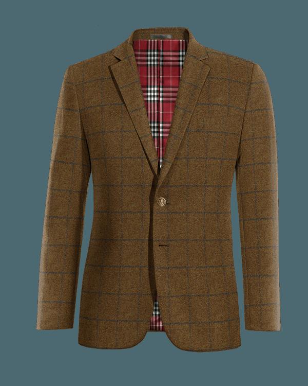 Blazer marrone a quadri di tweed