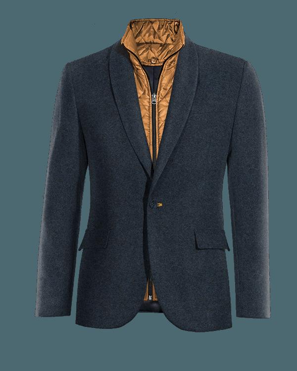Veste bleue en tweed avec gilet amoviblet