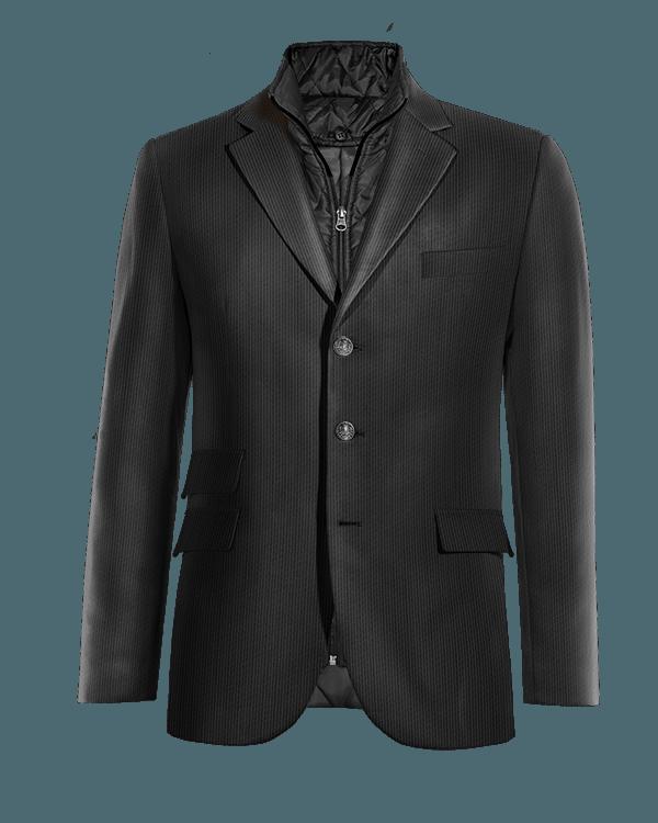 Veste noire en Velours côtelé avec gilet amoviblet