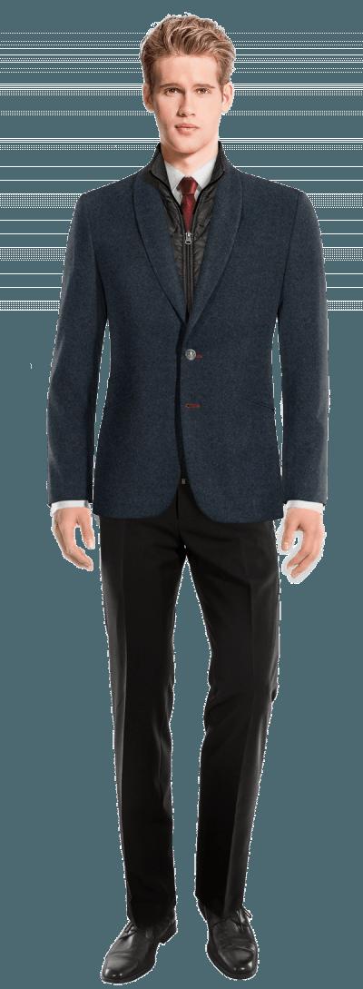 blaues sakko aus tweed mit herausnehmbarem brusteinsatz 238 hampton hockerty. Black Bedroom Furniture Sets. Home Design Ideas