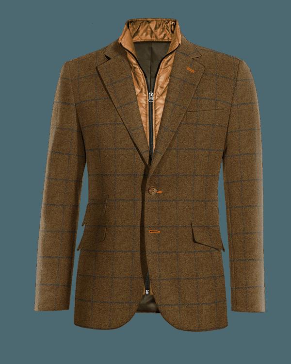 Blazer marrone a quadri di tweed con Gillet Removibile