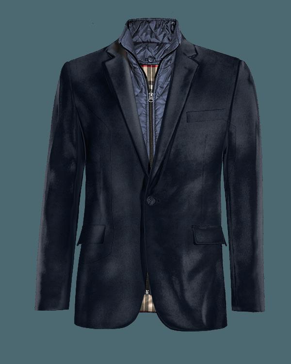 Blaues Sakko aus Samt mit herausnehmbarem Brusteinsatz
