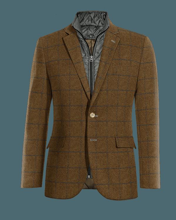 Veste marron à carreaux en tweed avec gilet amoviblet