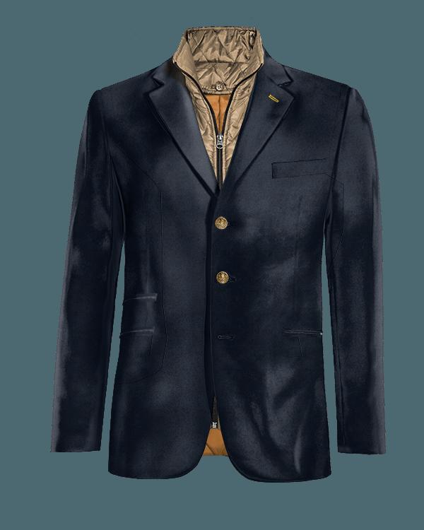 Veste bleue en Velours avec gilet amoviblet