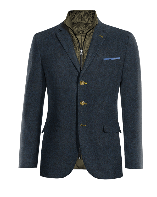 Blaues Sakko aus tweed mit herausnehmbarem Brusteinsatz